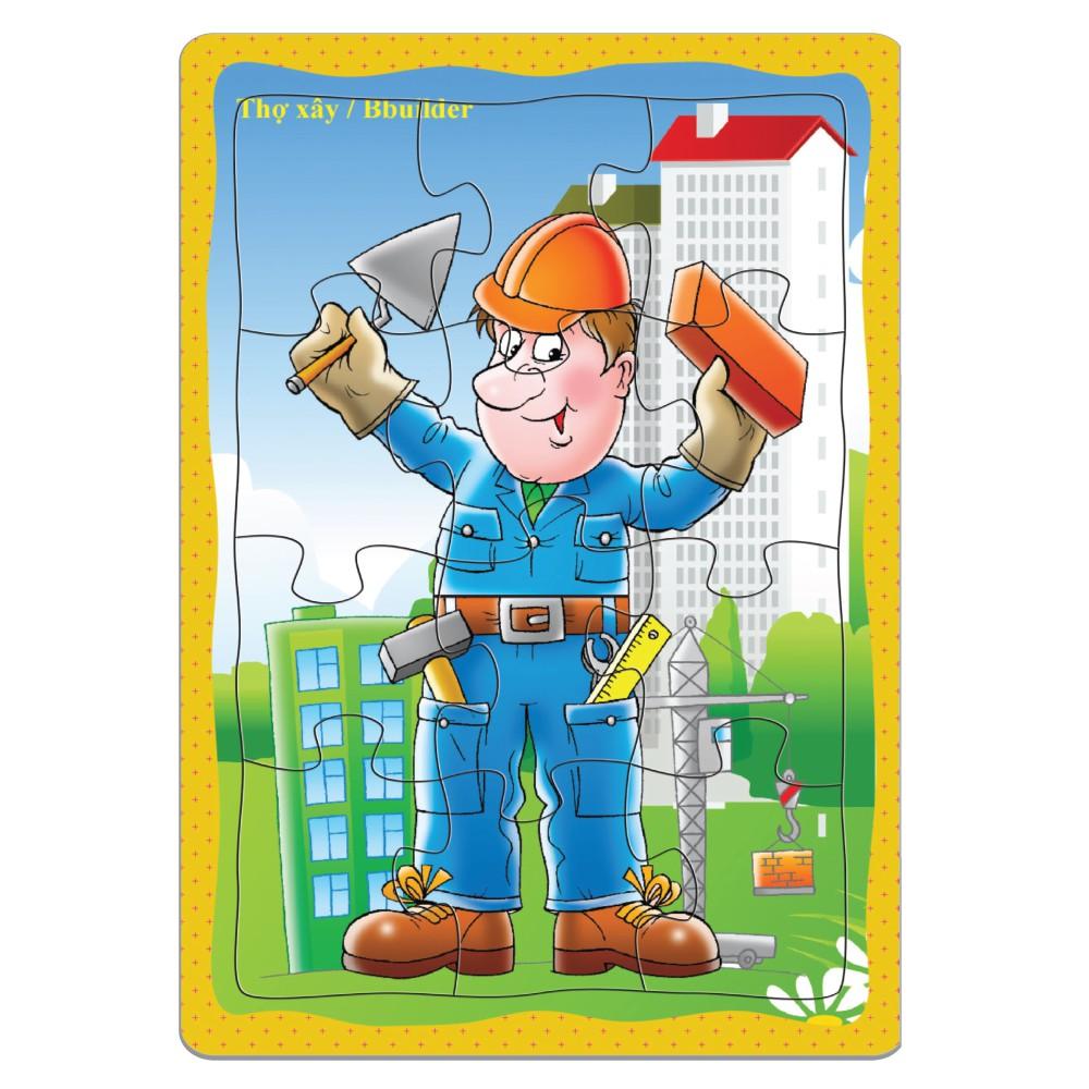 Tranh xếp hình 12 mảnh ghép A5, Đồ chơi trí tuệ cho bé từ 3 tuổi. Chất liệu Giấy cứng. Việt Nam