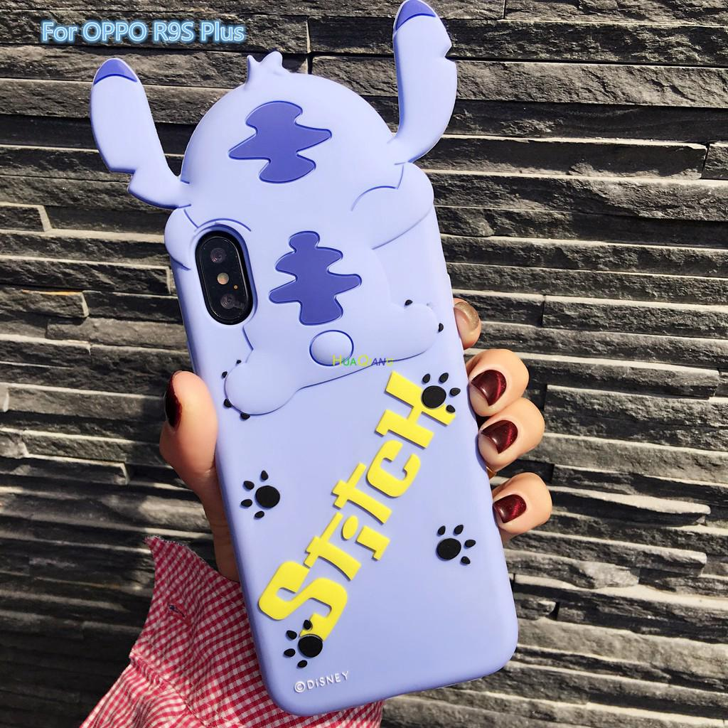 For OPPO R9S Plus Cartoon Stich Silicon 3D Cute Back Cover Case