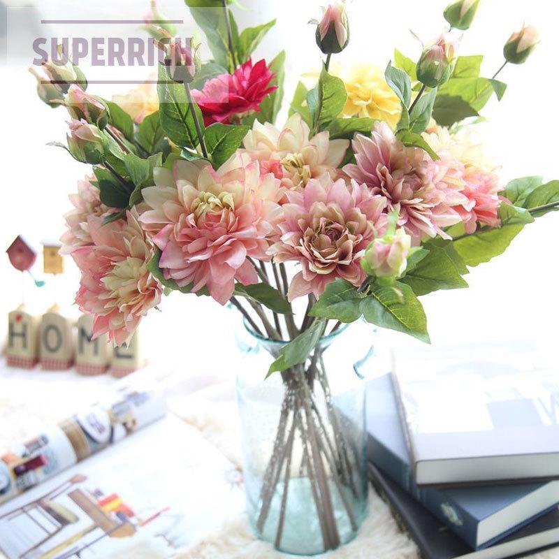 Fake Flower Dahlia Silk Artificial Flowers Festival Wedding Home Decoration