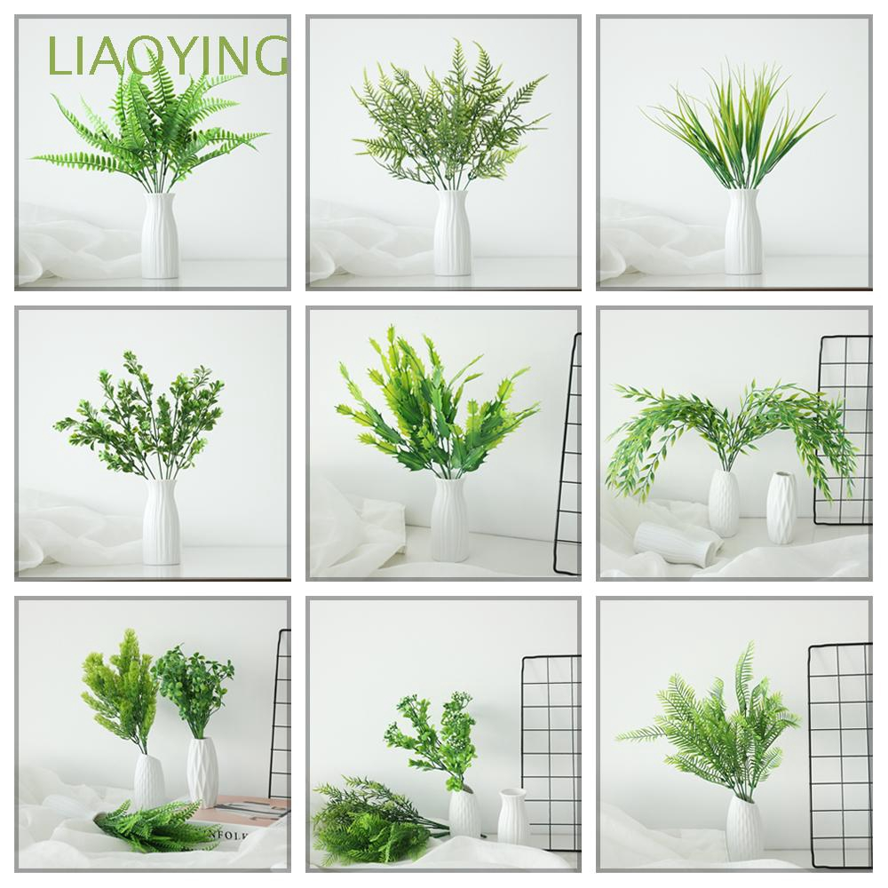 Cây lá xanh giả 5 hoặc 7 cành dài 30-40cm chất lượng cao dùng để trang trí nhà cửa/đám cưới