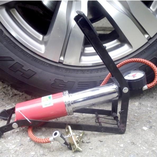 Bơm đạp chân mini 1 Piston tiện dụng - bơm ô tô - bơm xe máy xe đạp