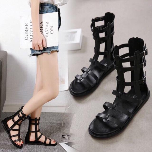 Sandal chiến binh khoá sau màu đen