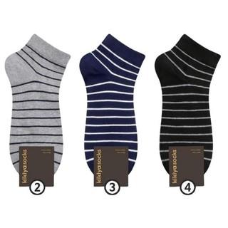 Bộ 3 đôi tất vớ nam cổ ngắn chất liệu cotton họa tiết kẻ sọc