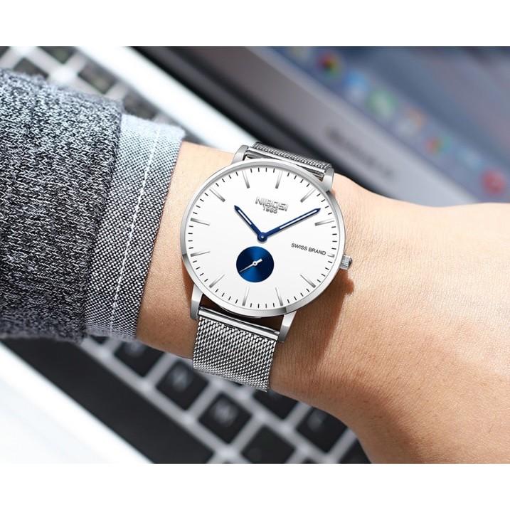 Đồng hồ Nibosi nam dây lưới 2361 (trắng)