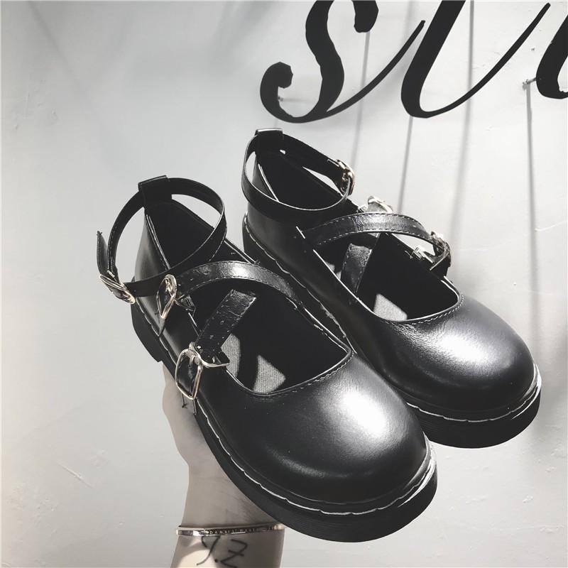 Giày búp bê mũi tròn đế muffin phong cách Nhật Bản cho phái nữ