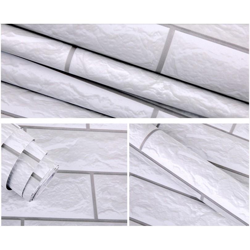 Giấy dán tường đá trắng 3D - khổ rộng 60cm