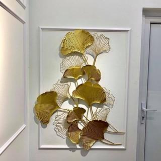 Tranh treo tường cành cọ vàng đơn, decor trang trí treo tường sang trọng
