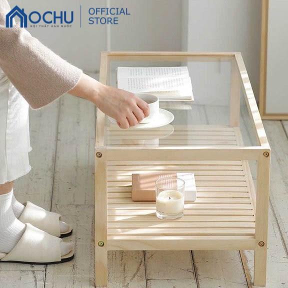 Bàn Trà Sofa Mặt Kính OCHU Khung Gỗ Hình Chữ Nhật - Pure Table