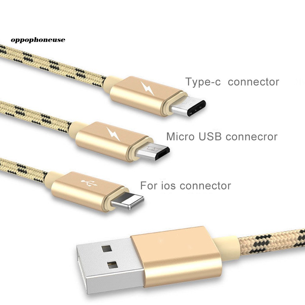 【OPHE】3 in 1 Braided Micro USB Type-C Fast Charging Cable Charger for Android iOS