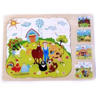 Đồ chơi gỗ cho bé dạng bảng ghép hình nông trại (4 in 1)