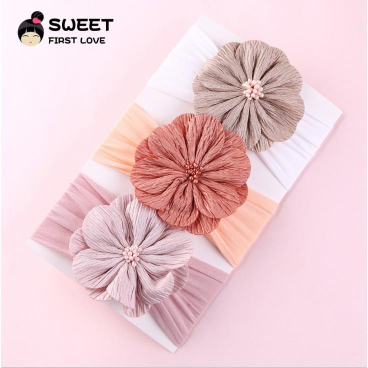 Băng đô,turban cho bé 💥FREESHIP💥 bản rộng hoa đồng tiền chất liệu co dãn mềm mịn