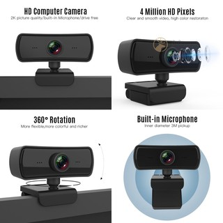 1080P HD Computer Camera Video Conference Camera Webcam 2K Resolution Auto Focus 360° Rotation H.264 Video Compression with Microphone Multifunctional Base USB Plug & Play for Video Meeting Online Teaching Training Live Webcasting