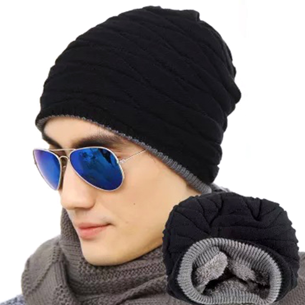 New Winter Spring Autumn Unisex Warm Knitted Oversized Slouch Hip Hop Thick Fleece Hat Beanie