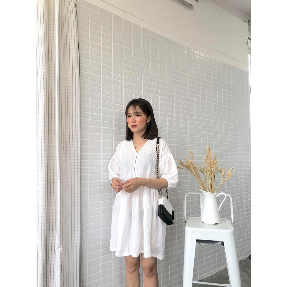 Váy babydoll trắng gân dọc nửa trên - B924- 320