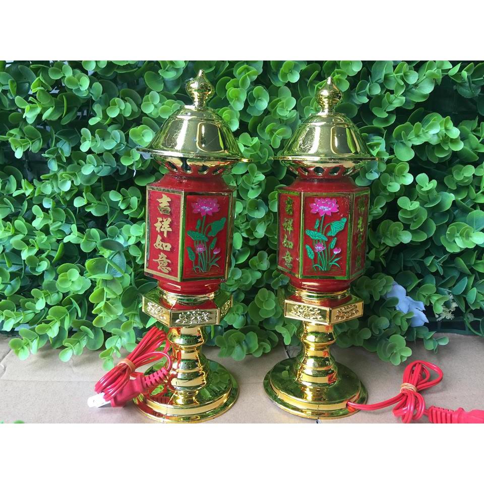 Bộ 2 chiếc đèn thờ lục giác cao 30cm