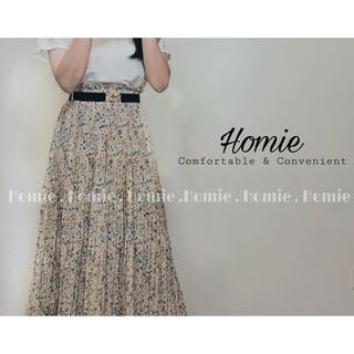 [Ảnh thật/Video-TẶNG ĐAI VÁY] Chân váy hoa nhí xếp ly Homie, chân váy vintage dáng dài – A8633