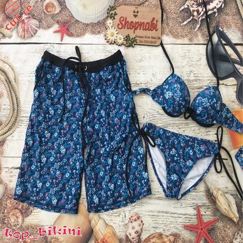 [FREE_SHIP] Bikini đồ bơi cặp hoa xanh thun lạnh