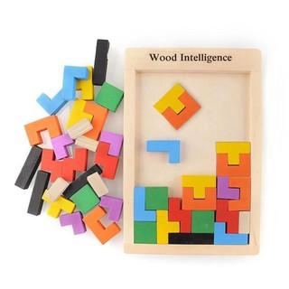 Đồ chơi xếp gạch gỗ Tetris Montessori sáng tạo cho bé