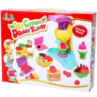 [Siêu Rẻ] Đồ chơi đất nặn có máy làm kem từ đất 5 hộp màu 8818A