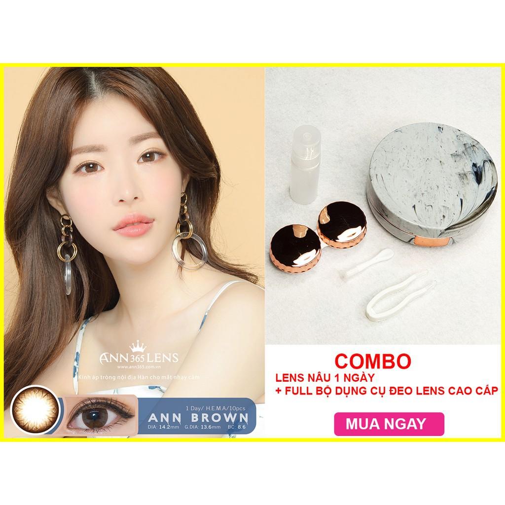 [Hàn Quốc chính hãng] Combo Lens Nâu 1 ngày (1 cặp) + bộ dụng cụ đeo lens vân đá cao...