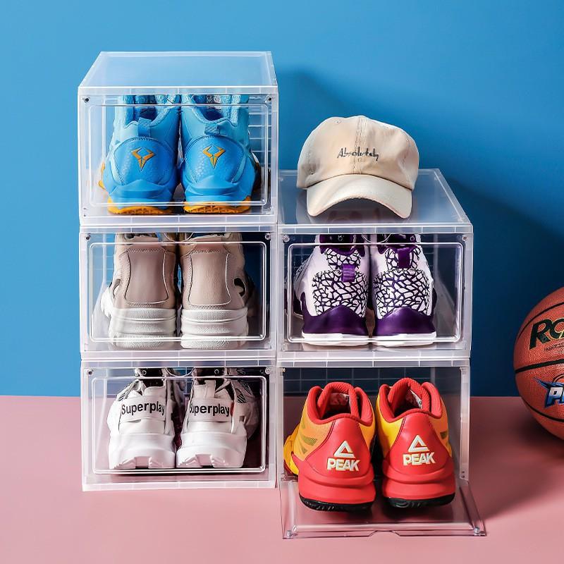 Hộp Đựng Giày Nhựa Cứng Cao Cấp Size Lớn 36*26*18 cm, Cửa Nam Châm Lắp Ráp Tiện Lợi ( Loại Xịn )