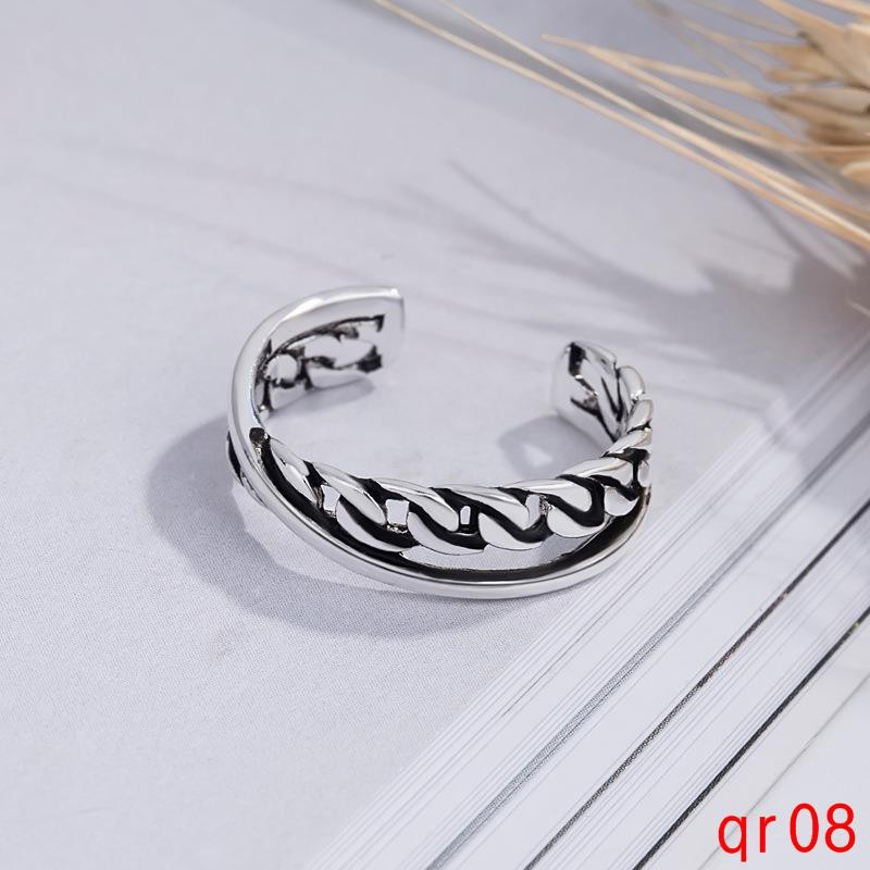 ไทยแหวนเงินโซ่แฟชั่นเกาหลีง่ายแหวนสร้างสรรค์ย้อนยุค