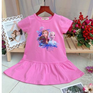 Váy Đầm thun Bé Gái công chúa Elsa Anna Frozen 2 đầm Elsa cho bé gái cotton 4 chiều mềm mát Size 2-9