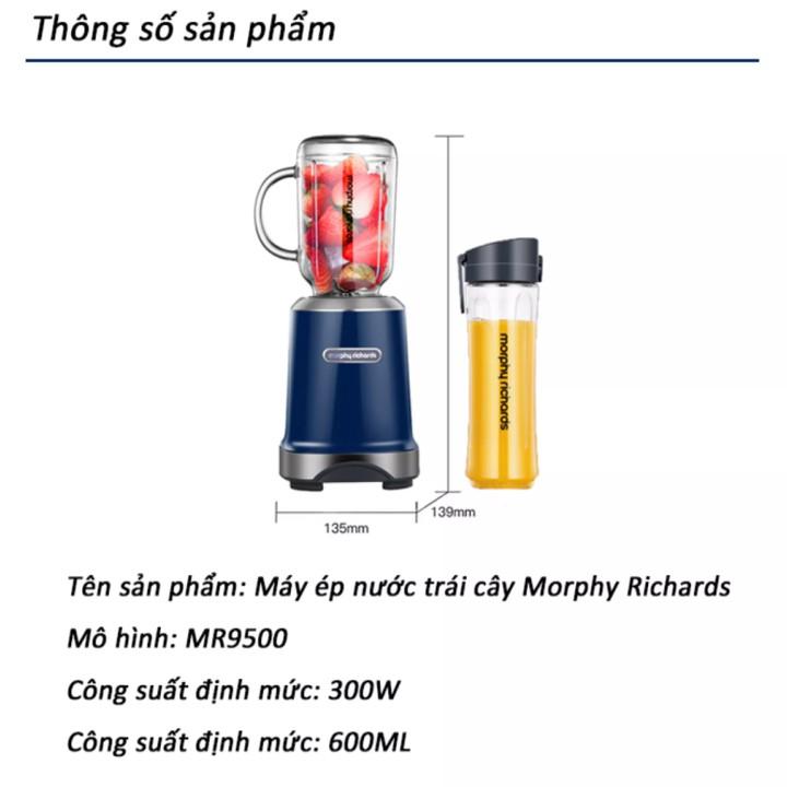 Máy Xay Sinh Tố cầm tay thương hiệu cao cấp Morphy Richards MR9500 - Tặng kèm 2 Ly cao cấp Chính Hãng