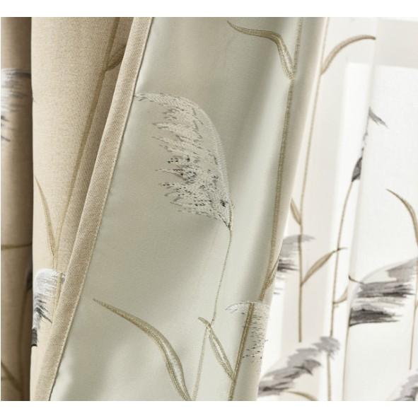 Rèm cửa trang trí cao cấp thêu nổi mẫu Bông lau