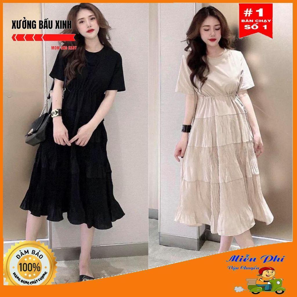 Váy bầu thời trang thiết kế xuông M117 chất Cotton 100% và Đũi voan freesize từ 45 đến