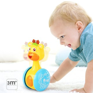 Cartoon Giraffe Tumbler Doll Roly-poly Baby Toys Cute Rattles Ring Bell Newborns