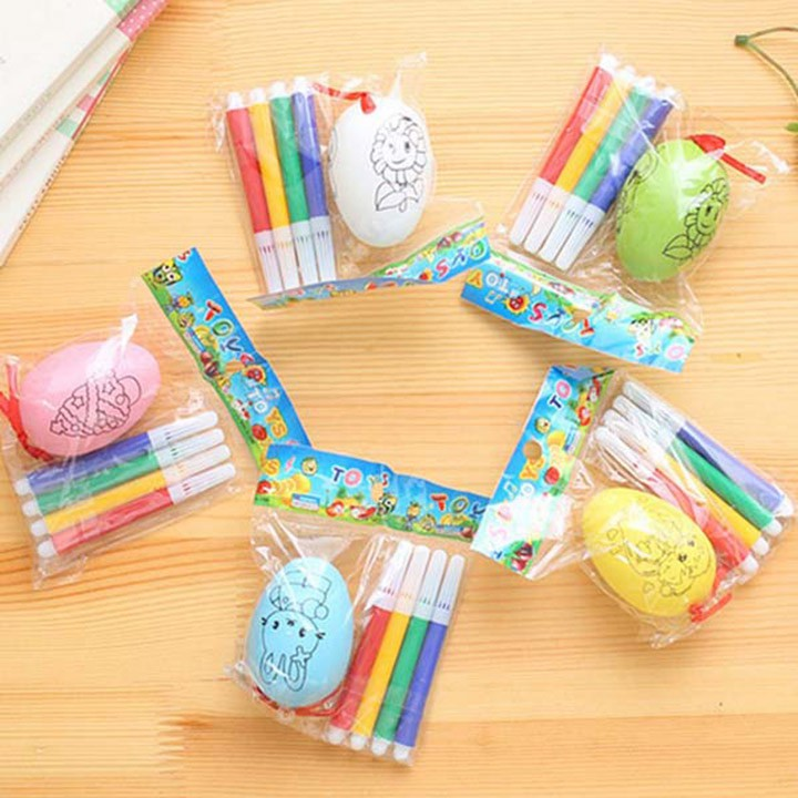 Bịch 20 quả trứng tô màu kèm 4 bút dạ tô màu