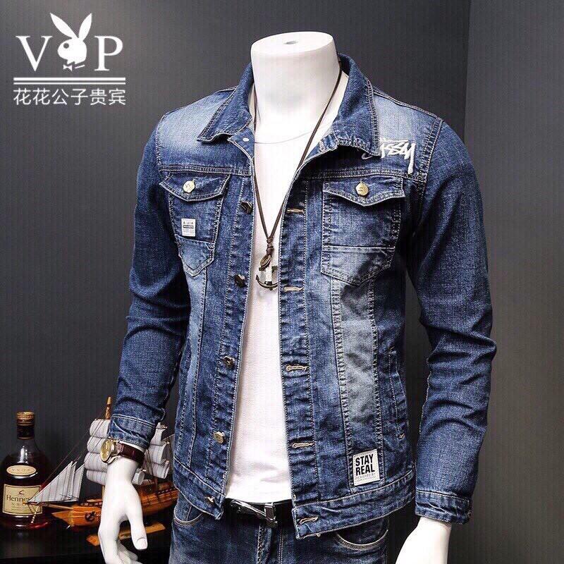 [Hàng Chuẩn Shop] Áo Khoác Jean Nam Màu Xanh Có Cổ CHất Jean Co Dãn Cao Cấp Siêu Bền Đẹp, Áo Khoác Bò - Áo khoác jeans