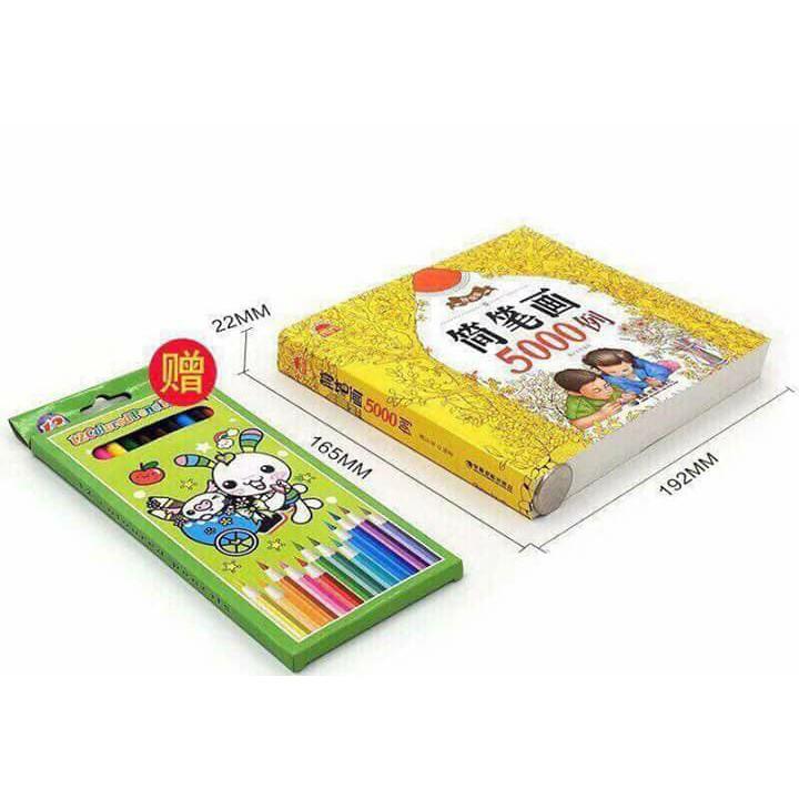 Bộ sách tô màu 5000 hình kèm bút vẽ ( loai dep)