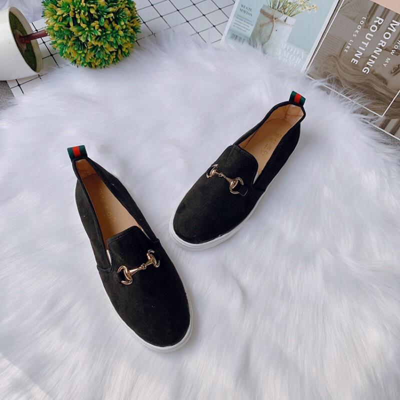 Giày slip on da lộn gót kẻ tag khoá mẫu mới rẻ đẹp tiện dụng
