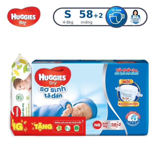 [Tặng 1 gói Khăn ướt Huggies] Tã dán sơ sinh Huggies mới 58+2 miếng NB58+2 (Cho bé dưới 5kg)