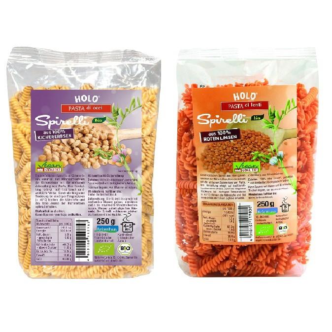 Nui xoắn đậu gà, đậu lăng đỏ hữu cơ Holo 250g