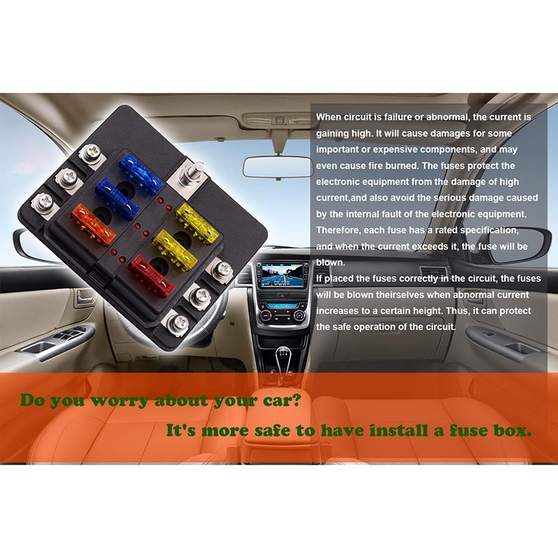 6Way Blade Fuse Box Block Holder LED Indicator for 12V 24V Car Marine Automotive