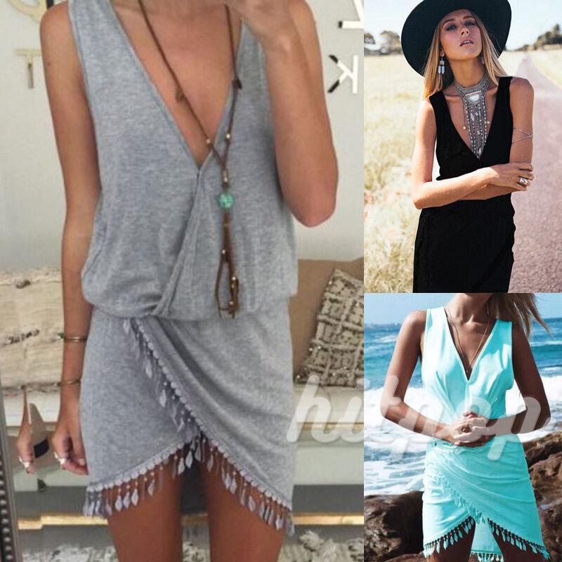BღBღ✿Womens Summer Beach Cover Up Sleeveless Evening Party Beach Dress Best Hot