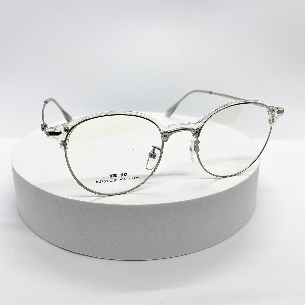 Gọng kính cận mắt tròn kim loại nam nữ kính thời trang