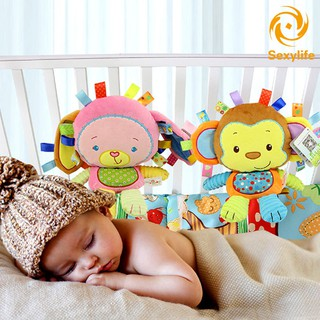 SL♣ Fashion Children Toys Soft Plush Lovely Colorful Animal Shape Appease Dolls With BB Ring Rattles
