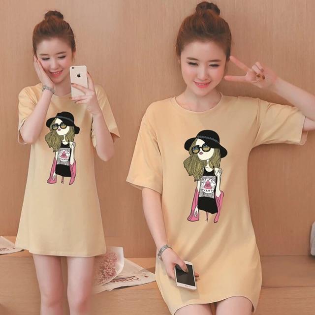 Đầm big size form suông 2 trong 1 ( áo thun form dài hoặc đầm)