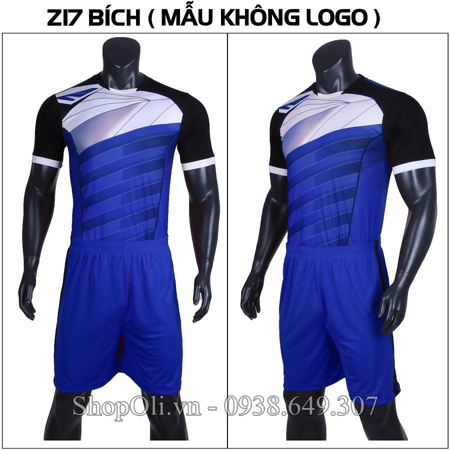 Quần áo đá banh Z17 không logo xanh bích