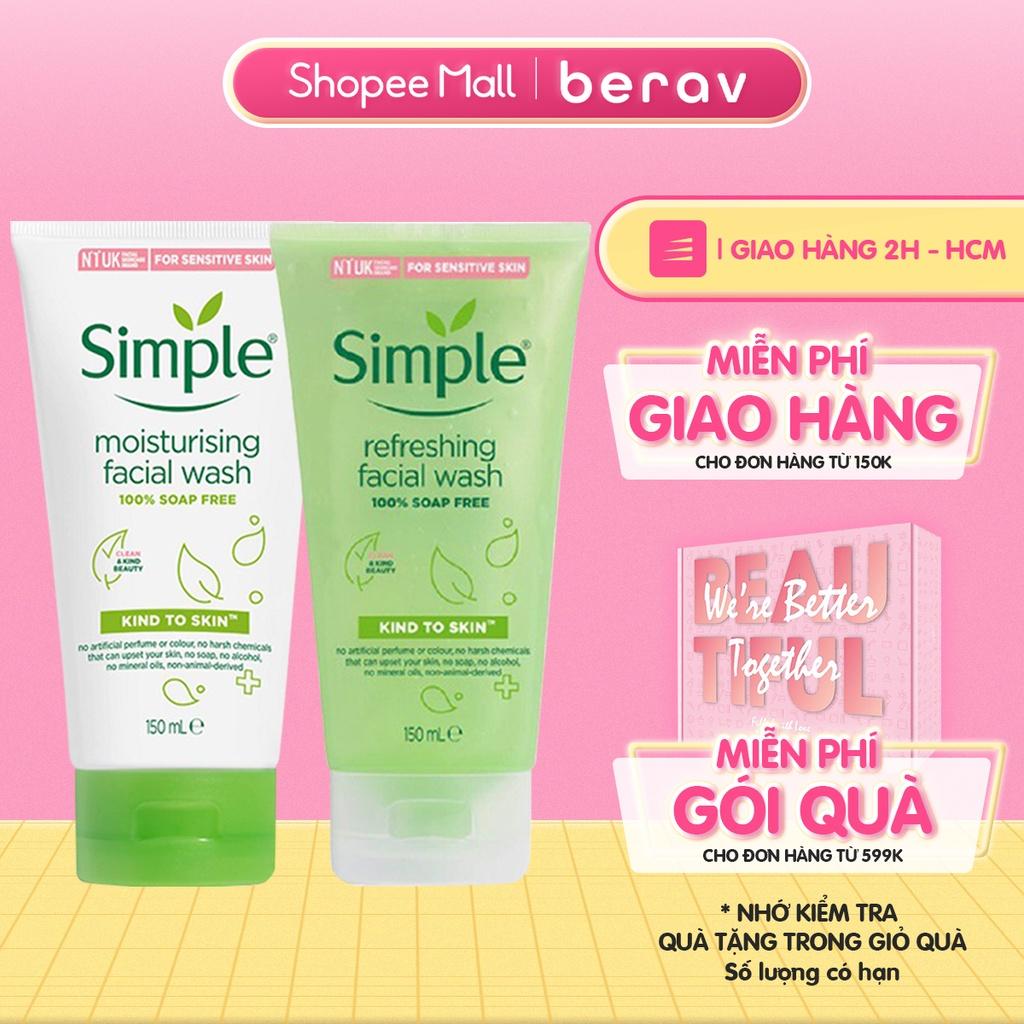 Sữa Rửa Mặt SIMPLE Dạng Gel Kind To Skin Facial Wash Làm Sạch Da, Dưỡng Ẩm và Kiềm Dầu 150ml