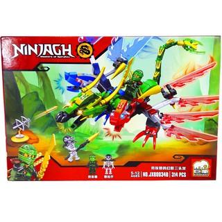 Bộ Lego Xếp hình Ninjago Chiến Đấu Với Siêu Robot Rồng 3 Đầu. Gồm 314 chi tiết. Lego Ninjago Lắp Ráp Đồ Chơi Cho Bé