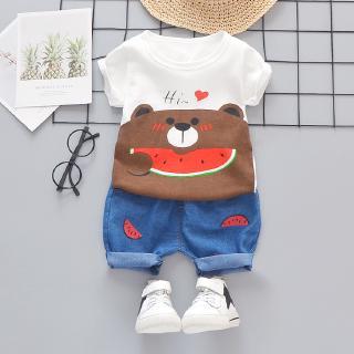0-5 tuổi bông bé thời trang ngắn tay phù hợp với mùa hè 2020 mô hình vụ nổ trẻ sơ sinh nam và nữ và trẻ nhỏ hoạt hình dễ thương ngắn tay áo T-shirt + quần short hai bộ trẻ em