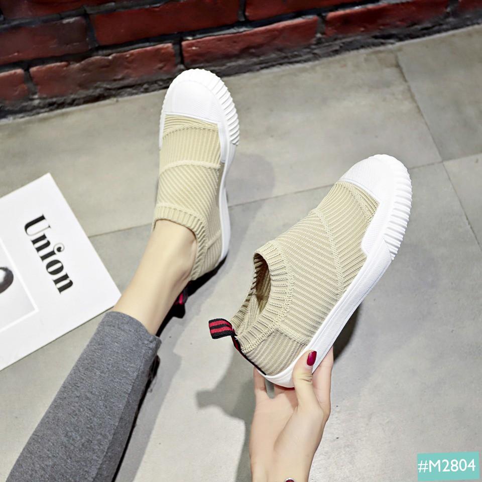 Giày Lười Nữ Kiểu Dáng Thể Thao Cổ Chun MINSU M2804, Slip On Bata Sneaker Hàn Quốc Cổ Chun Cho Bạn Nữ Thích Tối Giản