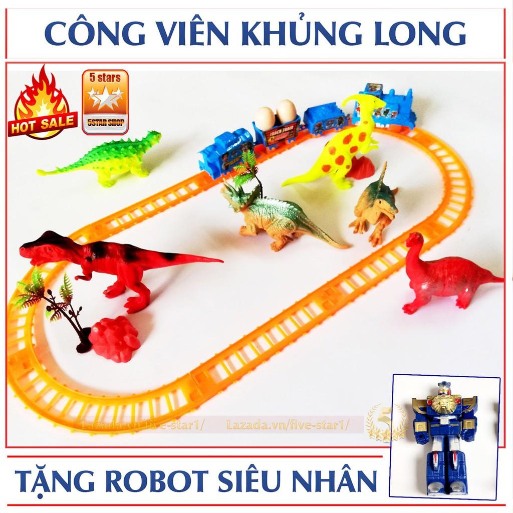 Bộ đồ chơi đường ray công viên khủng long + Tặng Robot biến hình