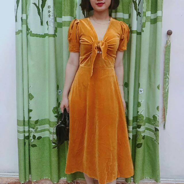 Váy nhung vàng cam