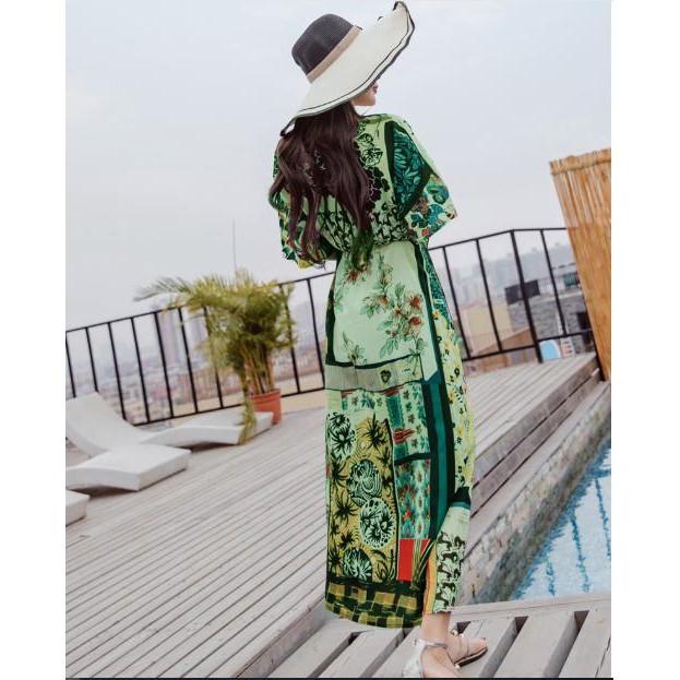 Đầm xoè eo bo thun hoạ tiết  chất vải silk mềm mát  đầm đi chơi